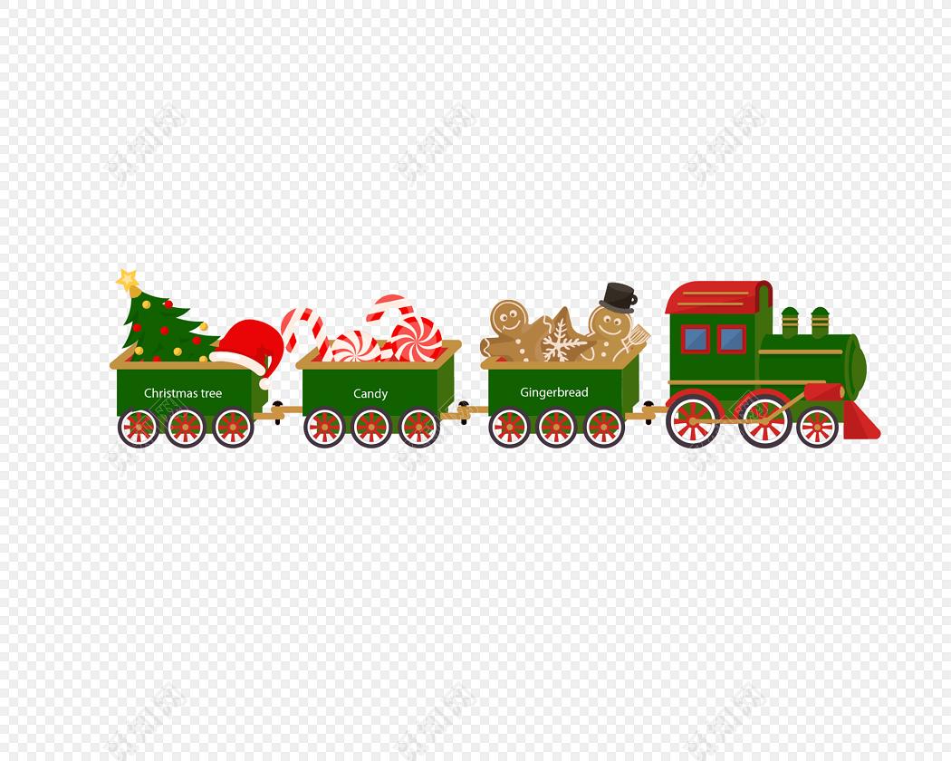 卡通圣诞节小火车矢量素材