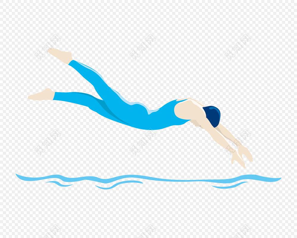 卡通游泳素材元素