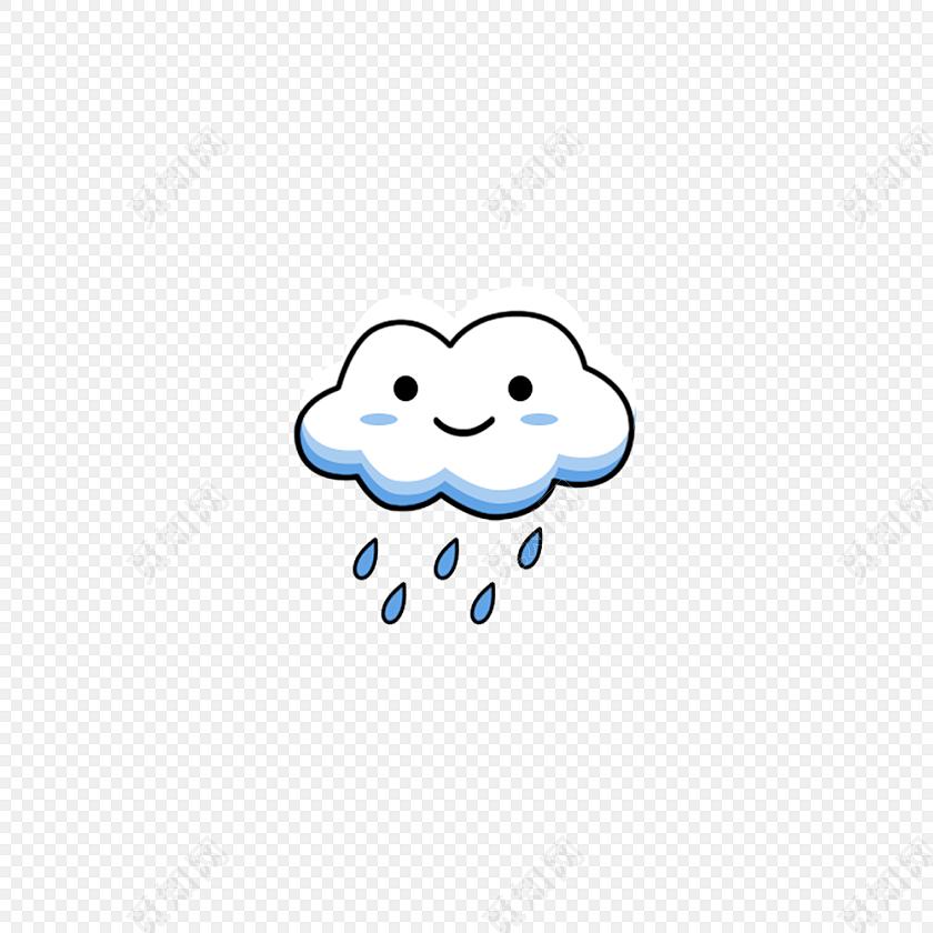可爱云朵笑脸彩绘矢量图素材