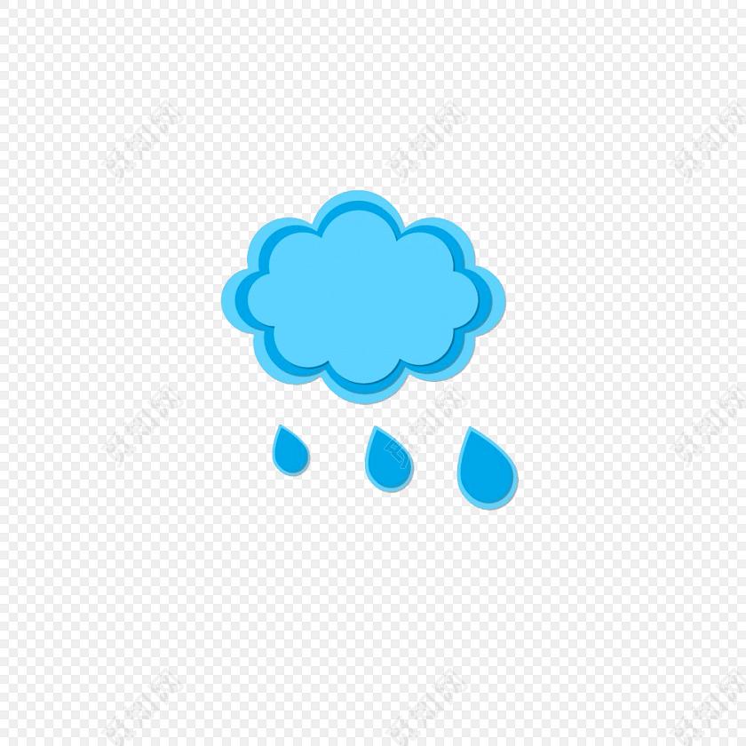 蓝色云朵雨滴矢量图素材