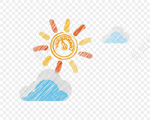 线条水彩云朵太阳齿轮彩绘矢量图素材