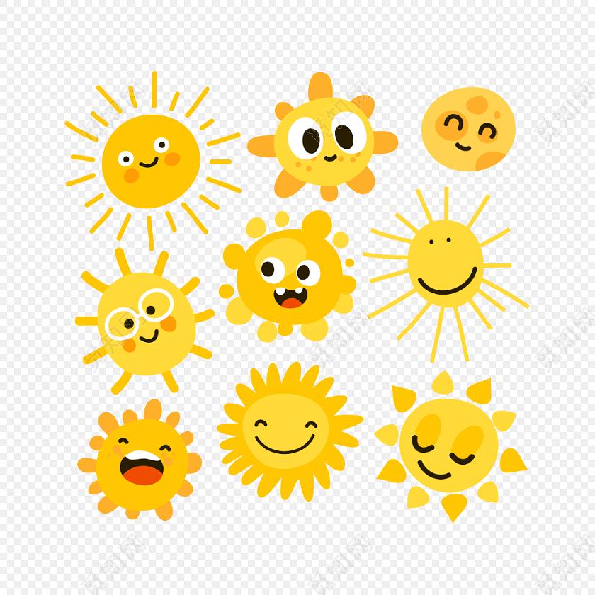 卡通笑脸太阳矢量图素材
