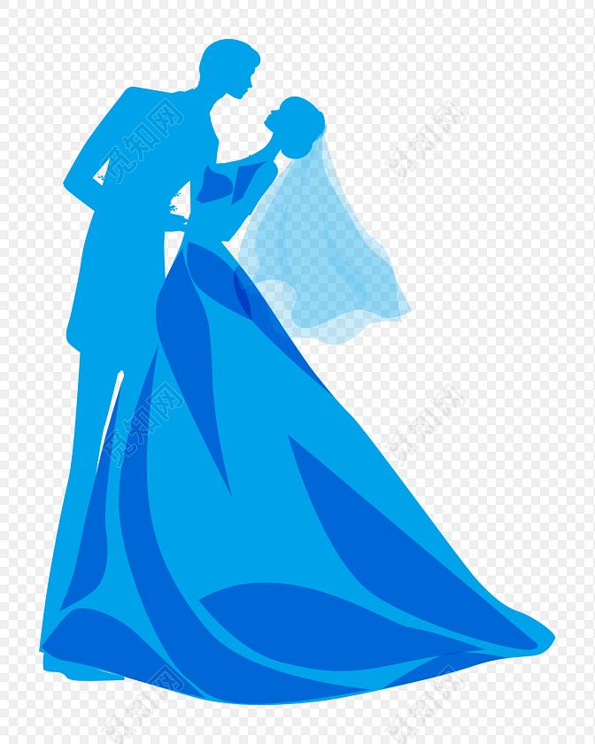 卡通人物婚礼结婚剪影素材