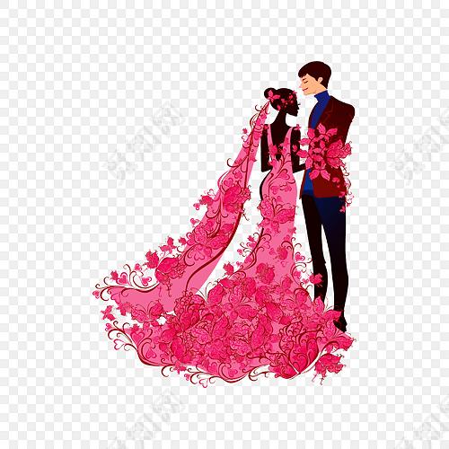卡通人物婚礼结婚素材