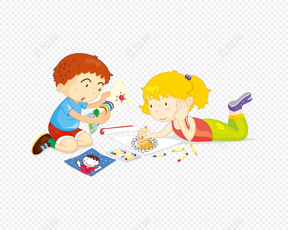 卡通儿童两个小朋友画画矢量图