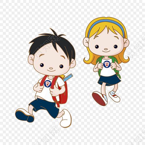 两个上学路上的小学生矢量开学季素材