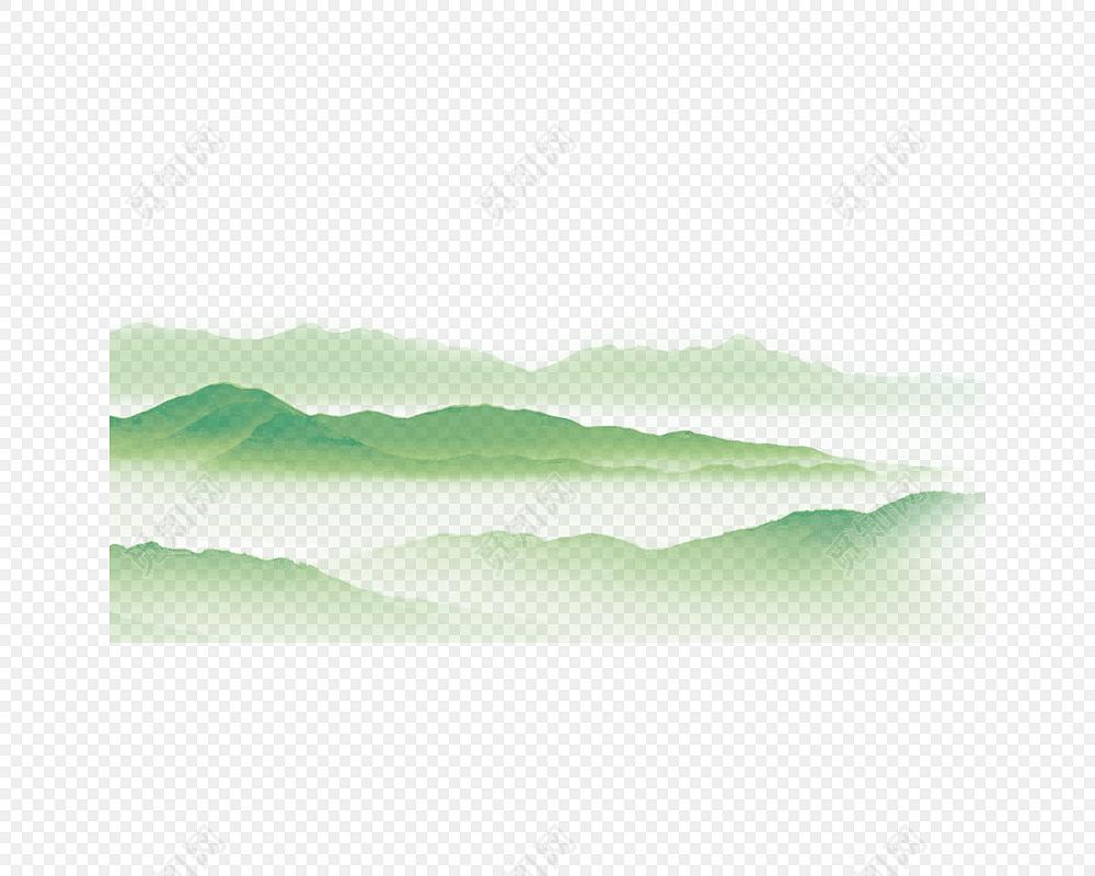 手绘山峰水彩素材