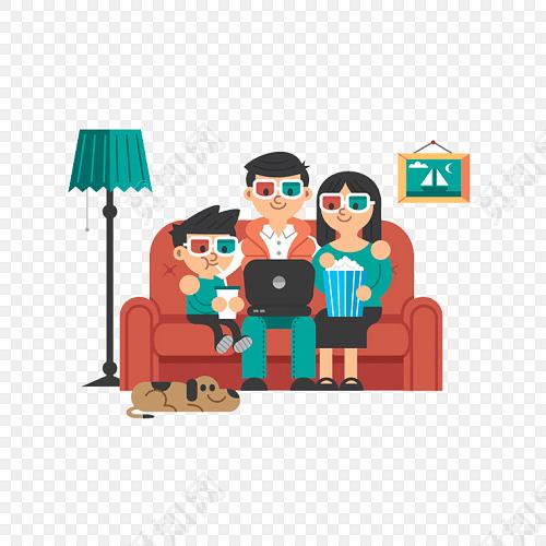 卡通人物电影院看电影免费下载_png素材_觅知网