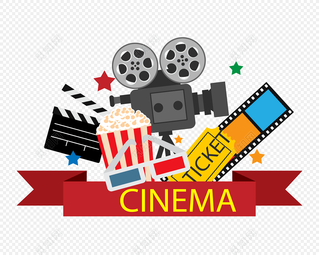 看电影小元素装饰免费下载_png素材_觅知网