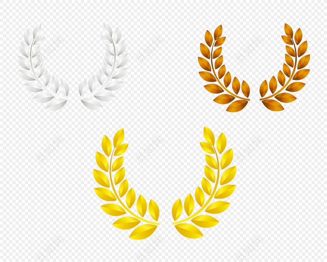 几种不同颜色的徽章麦穗边框