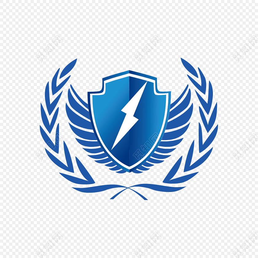 蓝色闪电盾牌徽章图片素材免费下载_觅知网