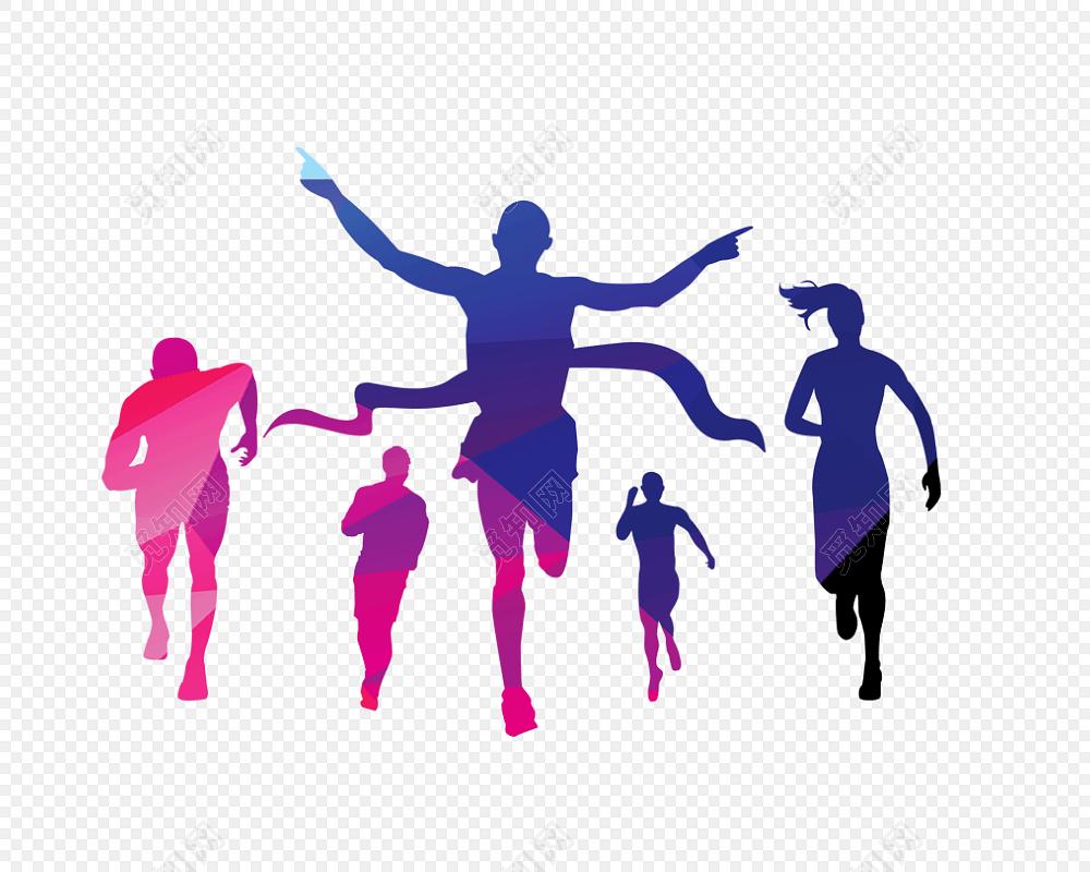 彩色奔跑人物招聘剪影免费下载_png素材_觅知网