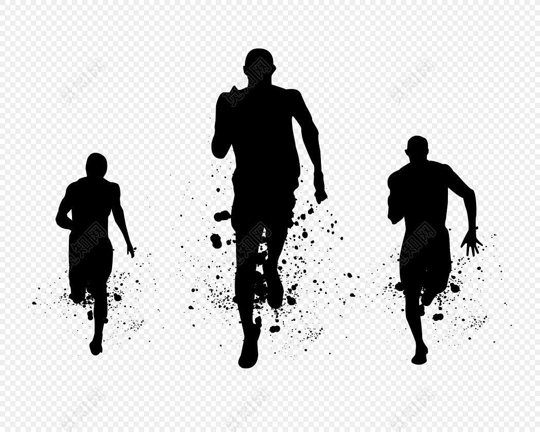 黑色创意组合奔跑人物剪影图片素材免费下载_觅知网