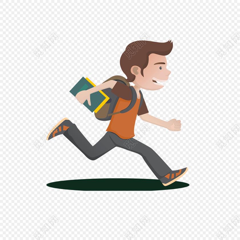 卡通人物奔跑免费下载_png素材_觅知网