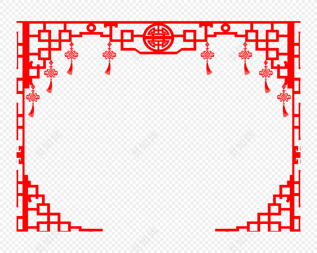 红色喜庆中式中国风花纹边框免费下载_png素材_觅知网