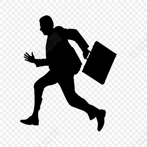 黑色奔跑人物上班剪影免费下载_png素材_觅知网