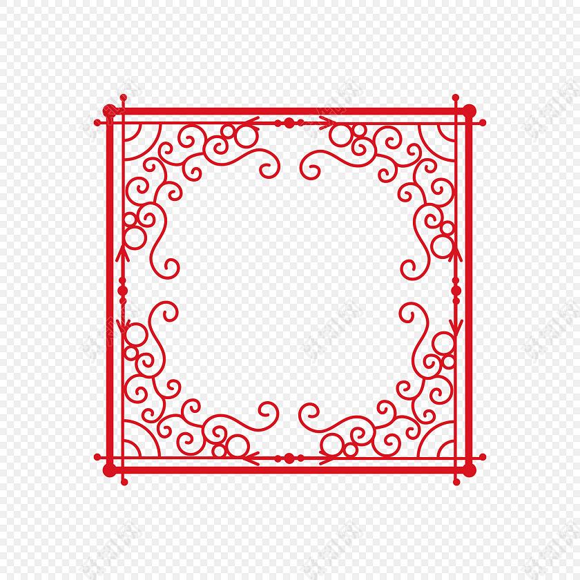红色欧式复古花纹正方形边框