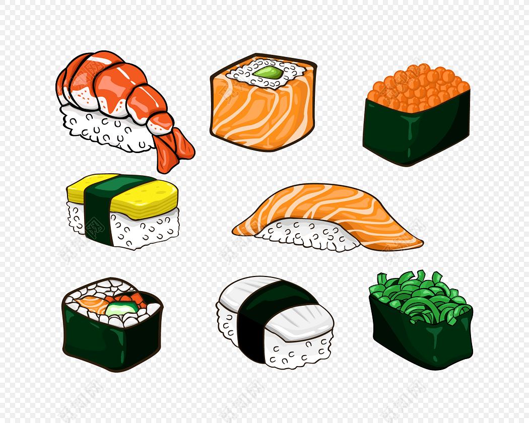 卡通手绘寿司素材