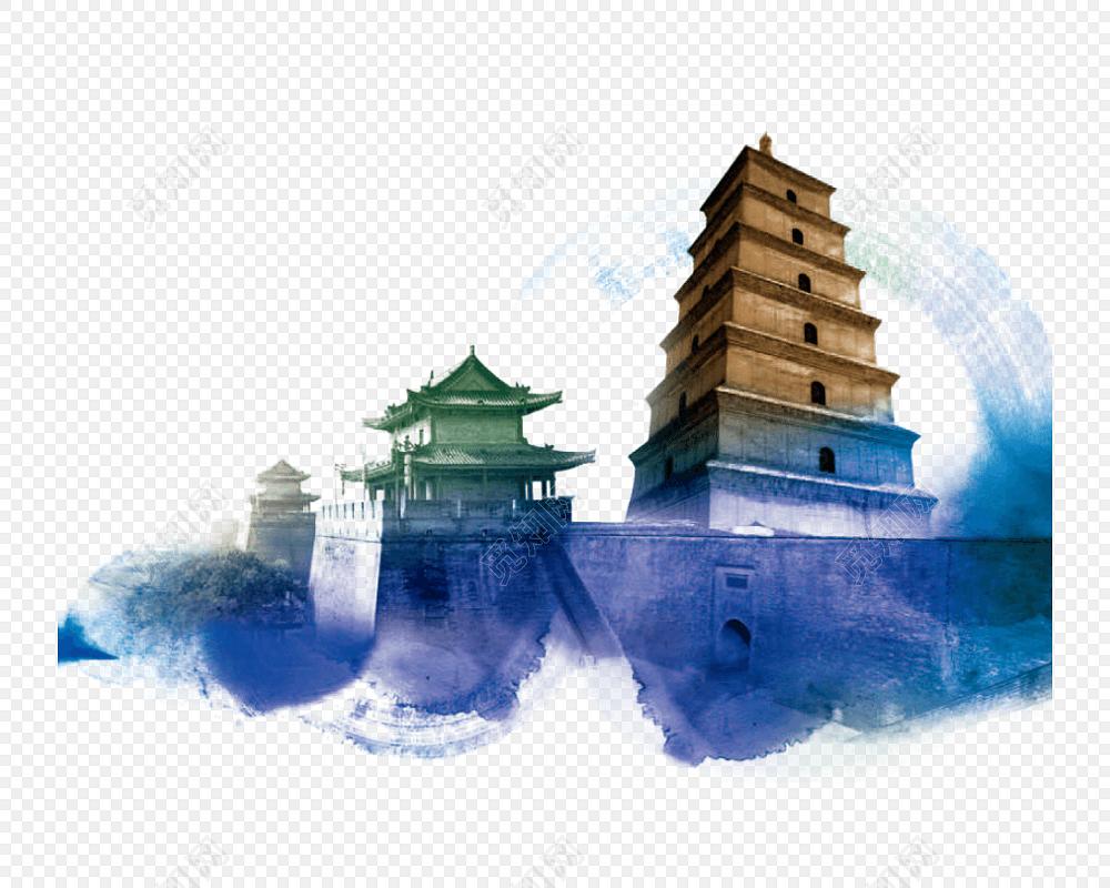建筑剪影创意西安旅游海报背景设计素材
