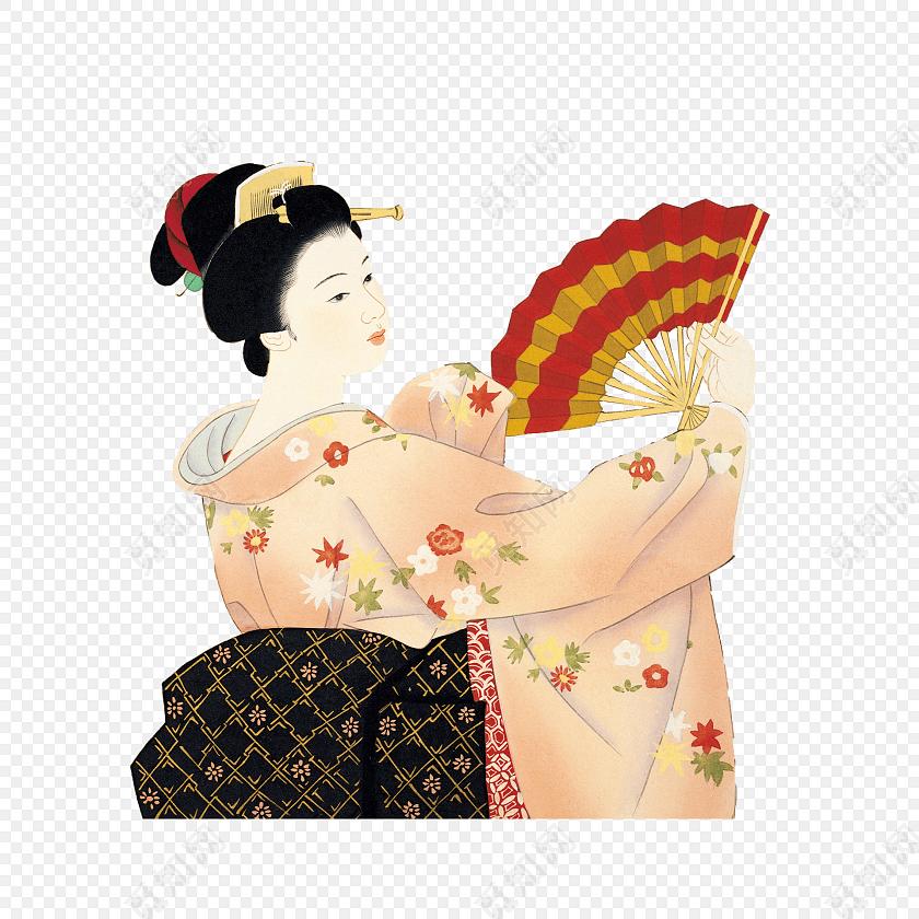 手绘日本艺伎矢量插画