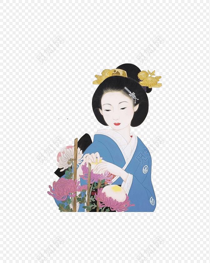 手绘彩色日本艺伎插画