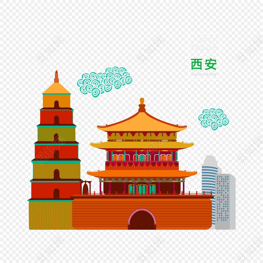 西安城市建筑手绘插画