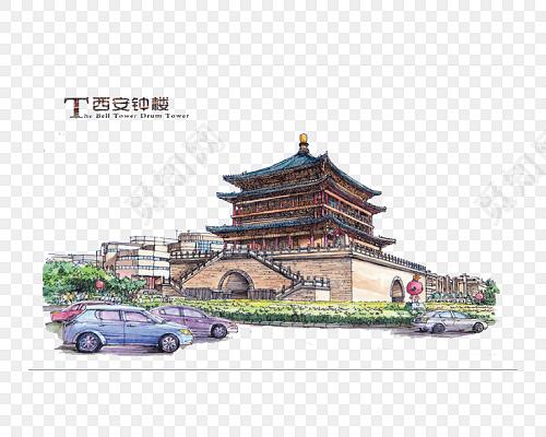 西安钟楼手绘插画