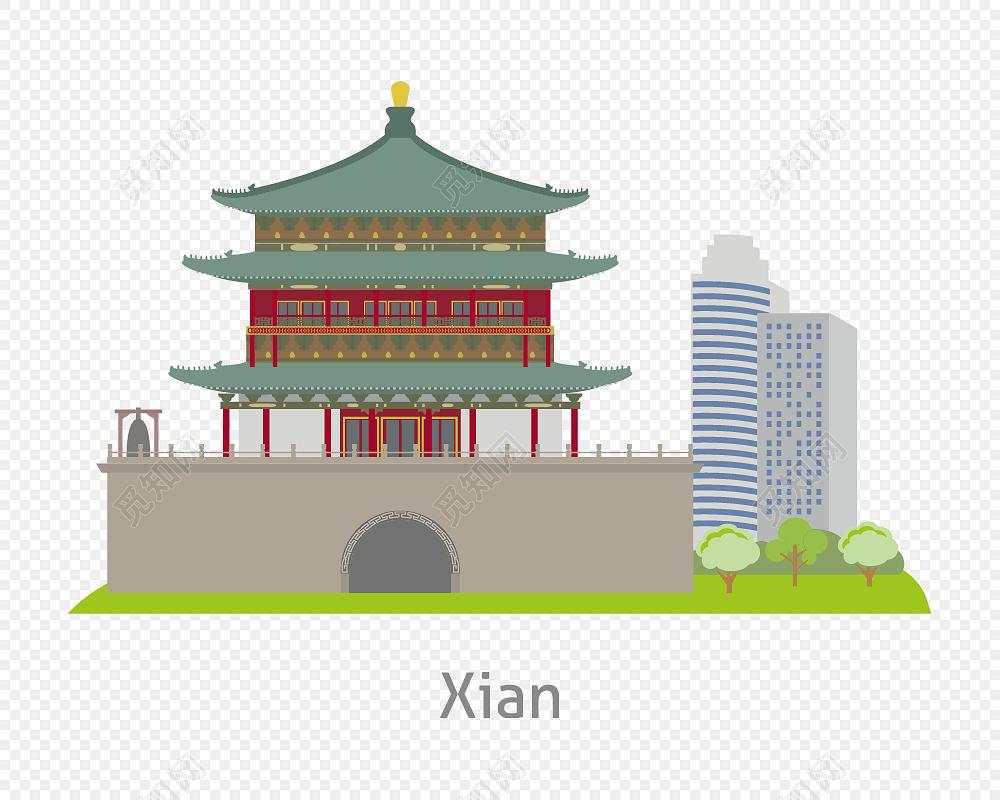 西安钟楼建筑剪影插画图片