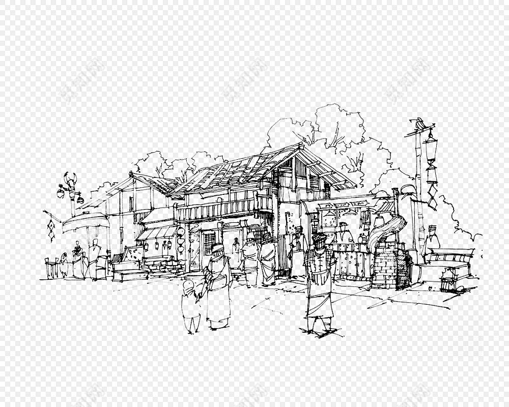 手绘贵州风景黑白插画