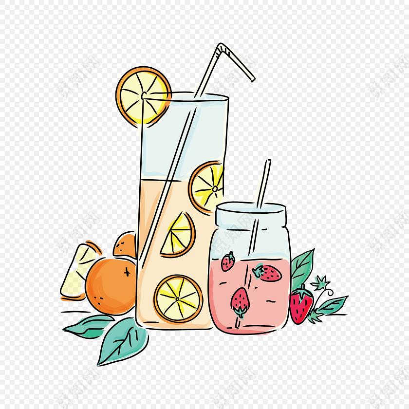 手绘夏日饮品海报设计矢量元素