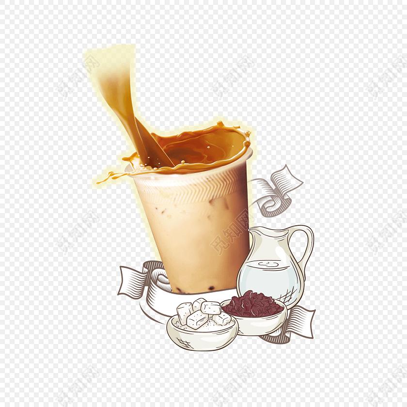 创意手绘奶茶矢量插画