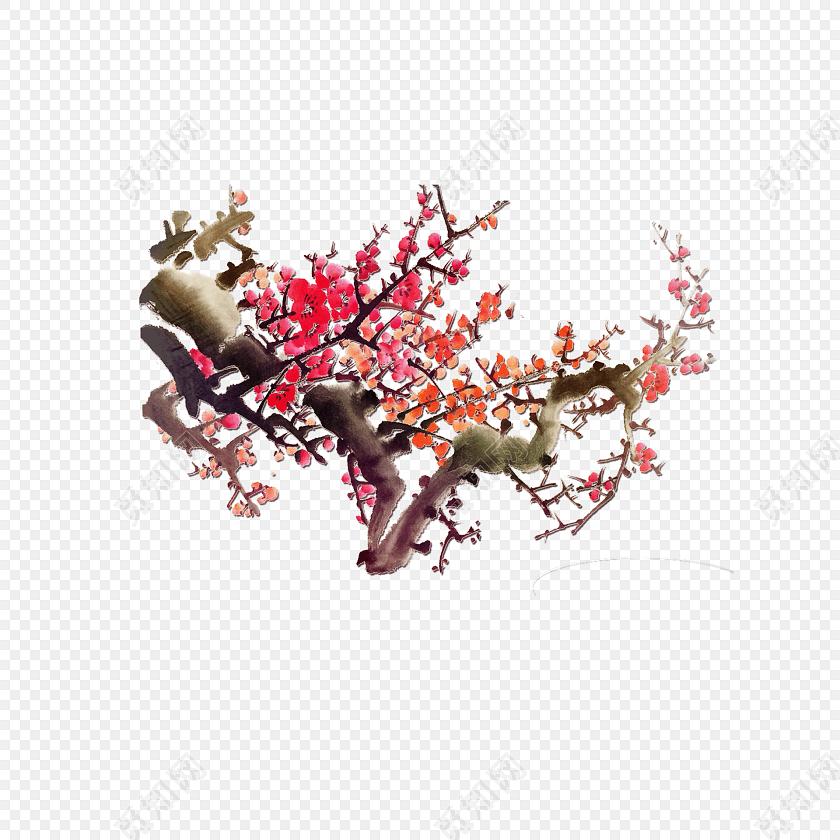 中国风雅致红梅梅花背景素材