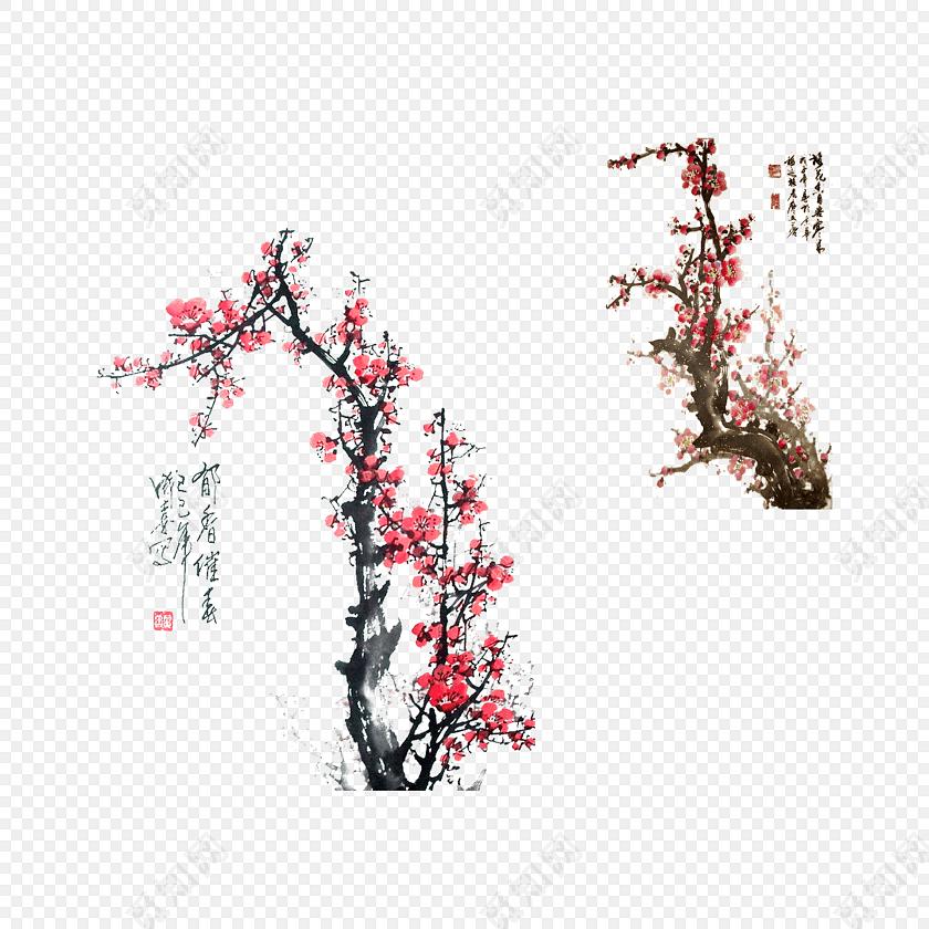 古典中国风题字红梅梅花背景素材