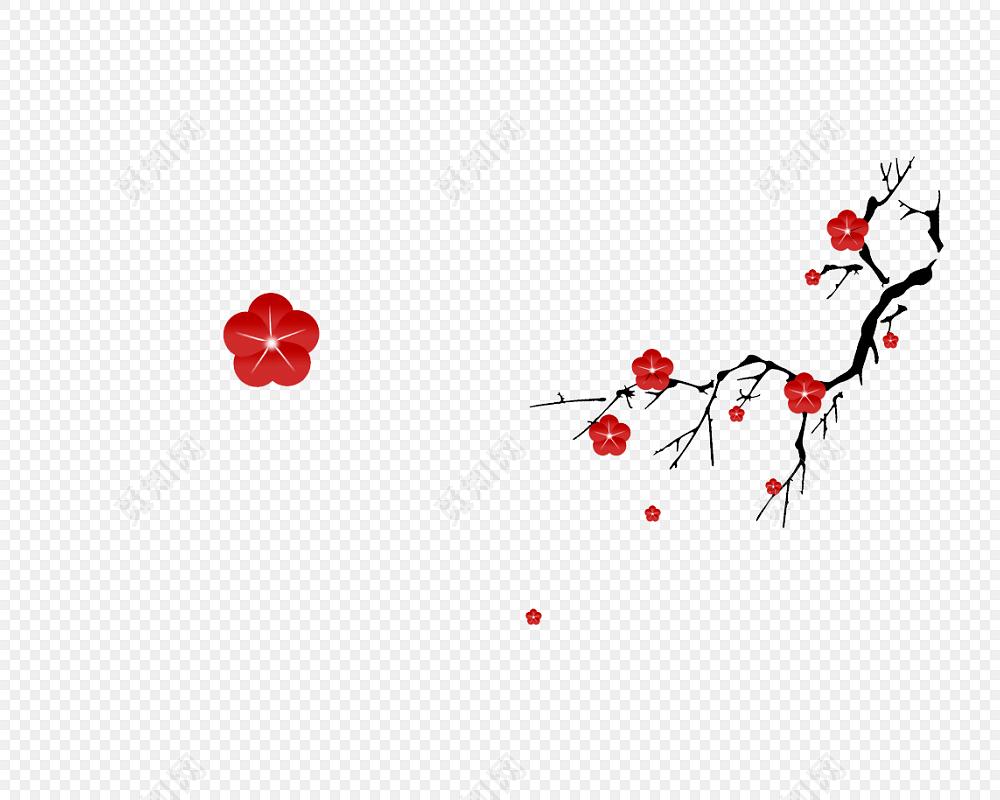 古典中国风梅花花瓣飘落背景素材