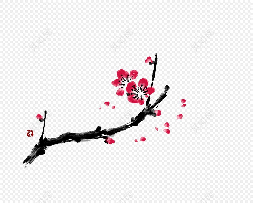 中秋国庆典雅红梅中国风梅花背景素材
