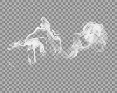 白色水墨曲線煙霧裝飾素材