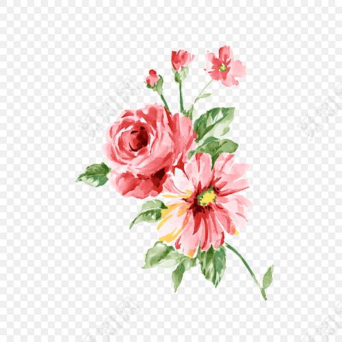 小清新手绘粉红色鲜花教师节设计素材