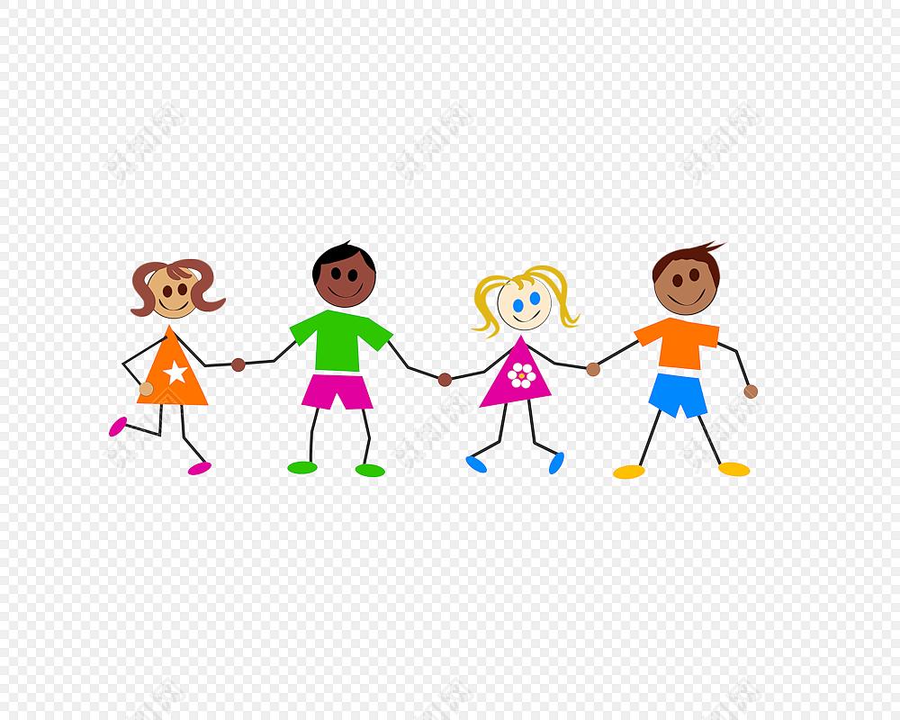 手绘卡通儿童牵手素材