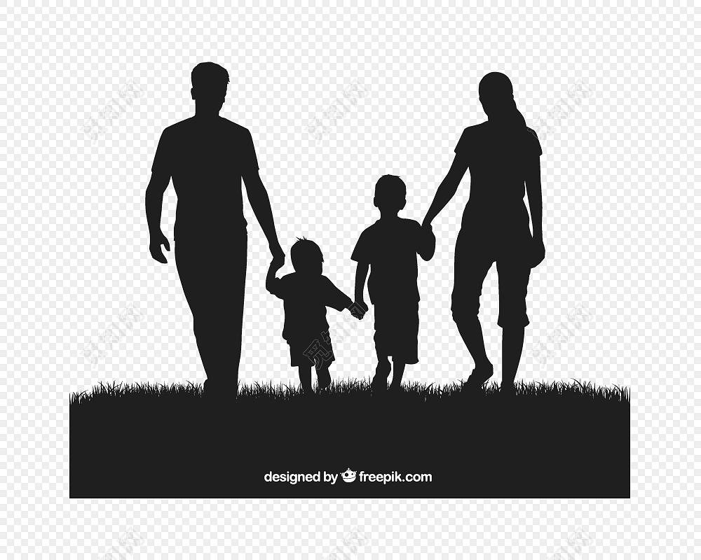 手绘卡通一家人牵手人物剪影素材