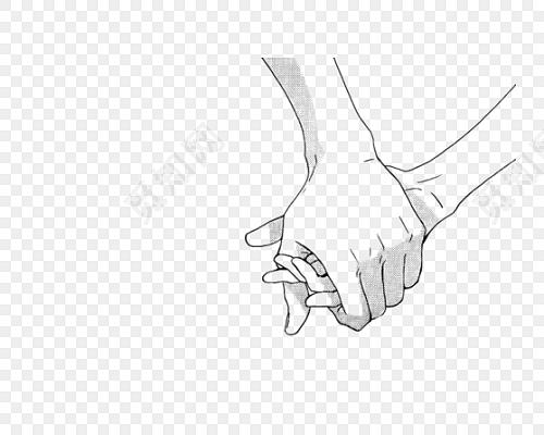 手绘卡通情侣手拉手牵手素材