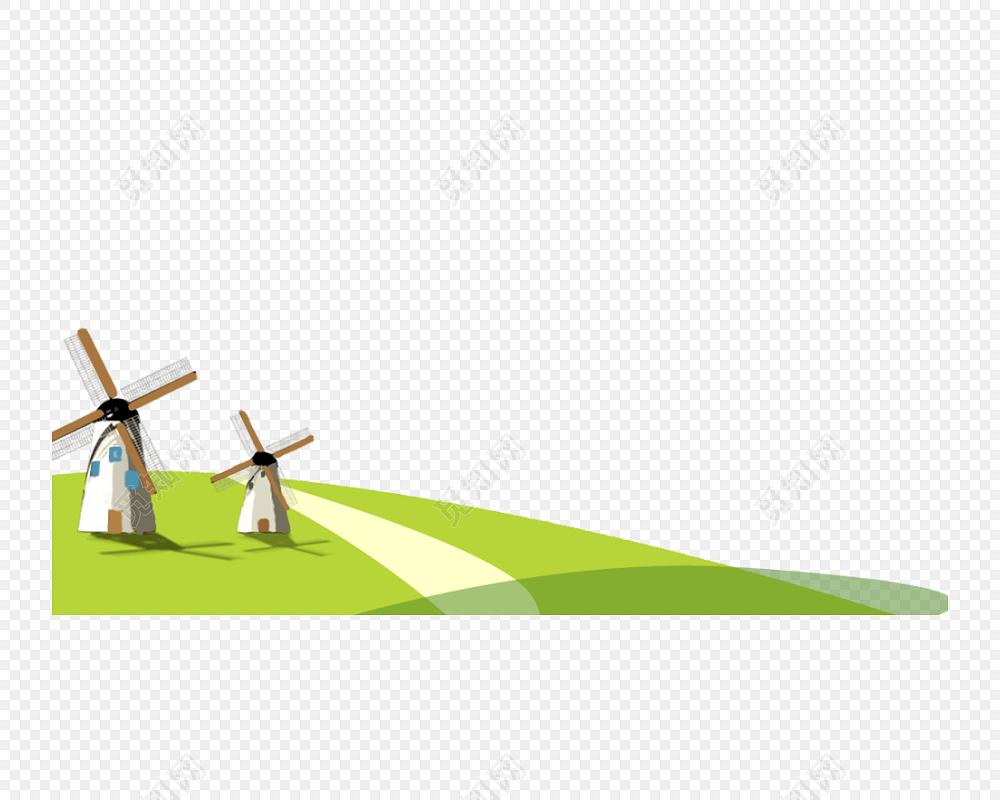 风能利用风车磨坊草地素材