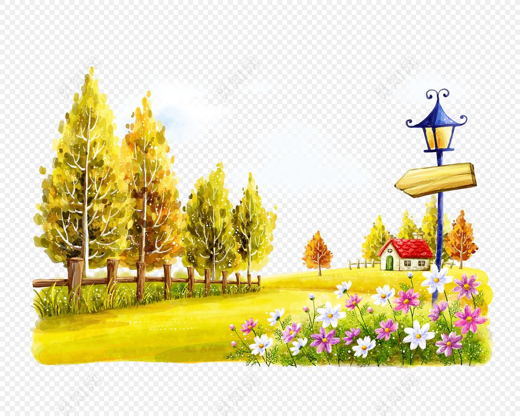 美丽郊外风景画