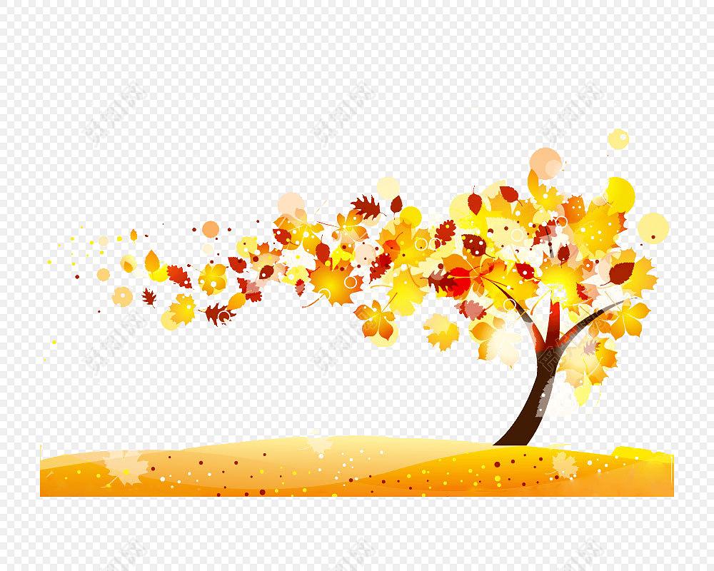 矢量手绘水彩枫叶秋景