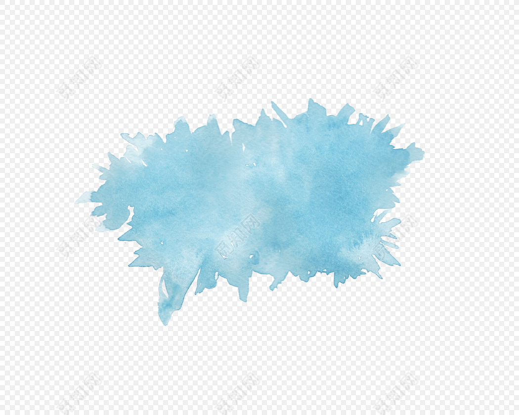 蓝色清新水纹水渍标题框