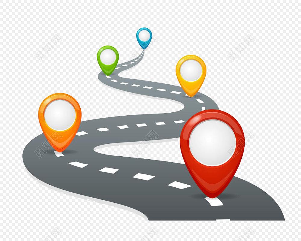 卡通矢量公路路标定位图标设计素材
