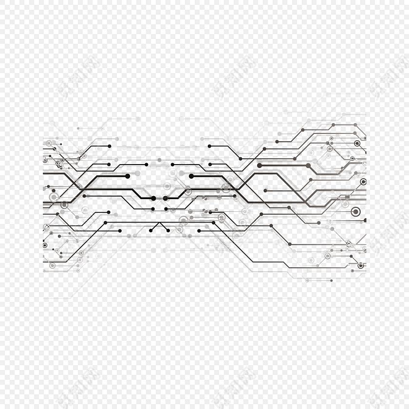 黑色电路板线条设计素材