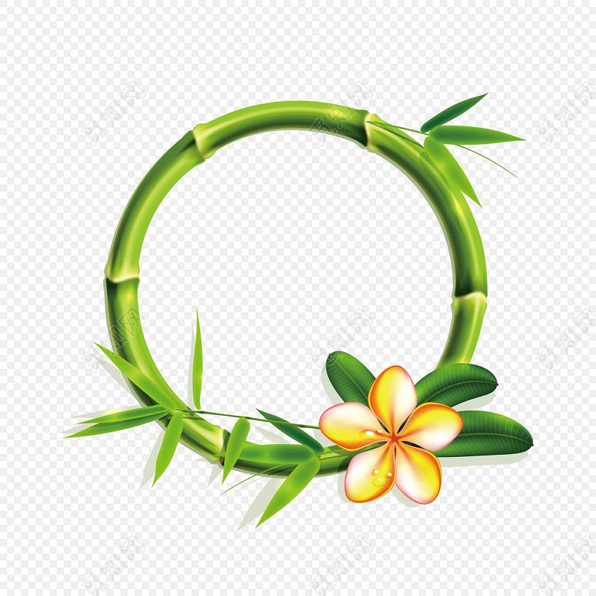 绿色手绘小清新竹子鸡蛋花边框免抠素材