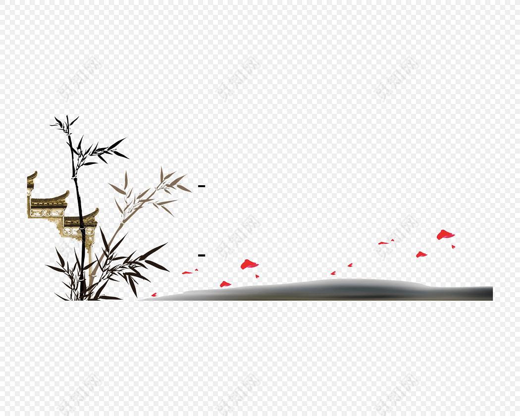 水墨简约清新写意徽派牌坊竹子免抠素材免费下载_觅