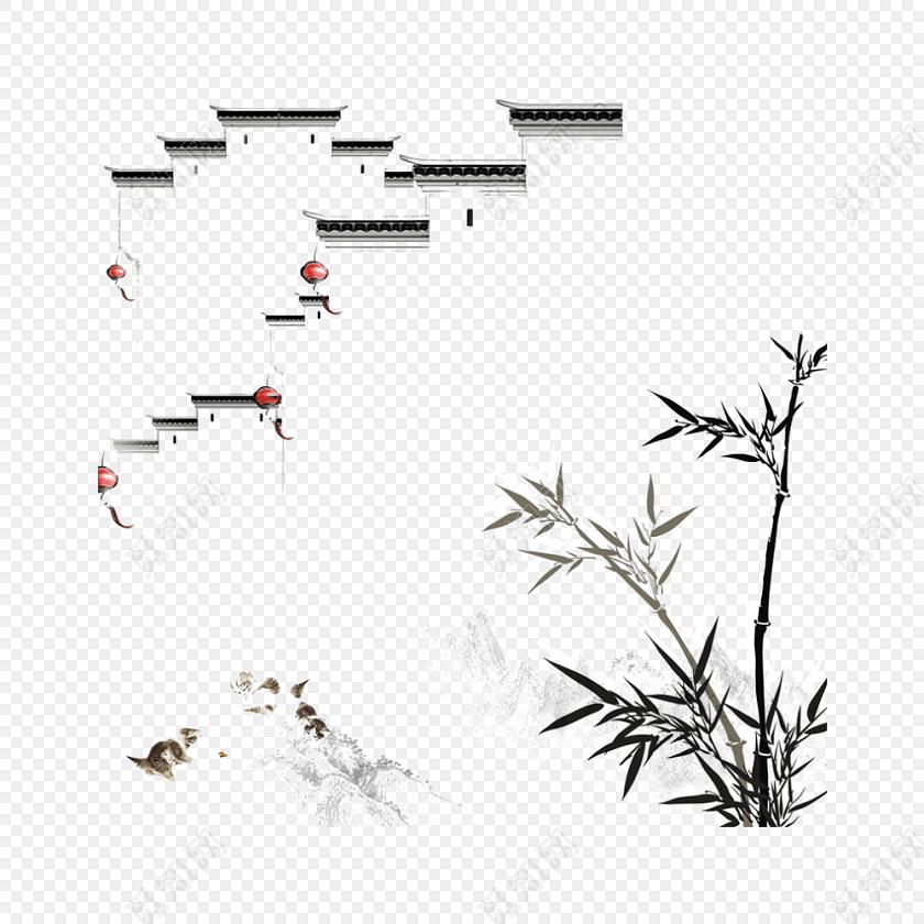 水墨简约清新写意徽派建筑竹子免抠素材免费下载_png