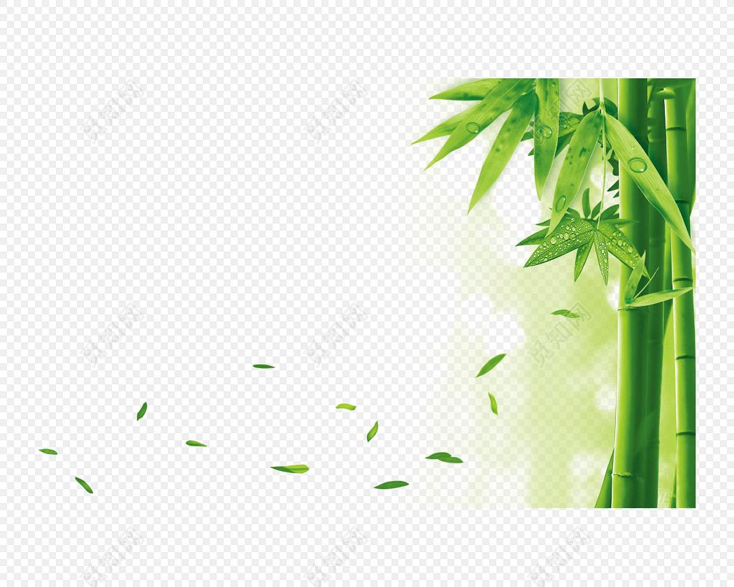绿色卡通手绘小清新竹子免抠素材